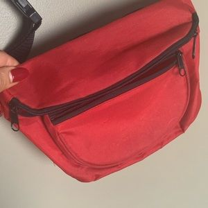 Handbags - Vintage red nylon fannypack with zip pockets